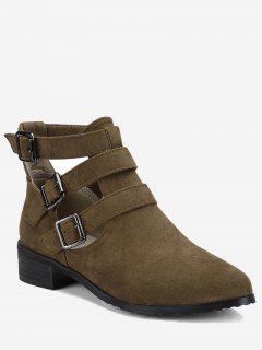 Ankle Hollow Out Buckle Strap Boots - Brown 36