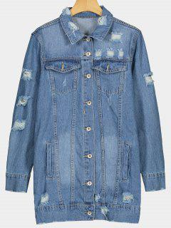 Button Up Pockets Ripped Denim Coat - Blue M