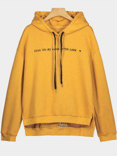 Letter Embroidered Side Slit High Low Hoodie - Ginger M