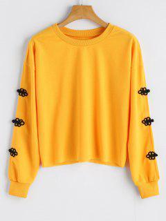 Split Sleeve Crew Neck Sweatshirt - Yellow S