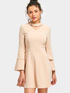 Tiered Flare Sleeve Mini Keyhole Dress - Apricot Xl