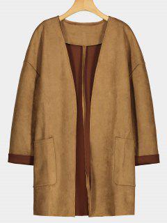 Manteau En Faux Suède Avec Poches - Camel S