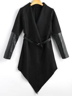 Belted Faux Leather Panel Coat - Black Xl