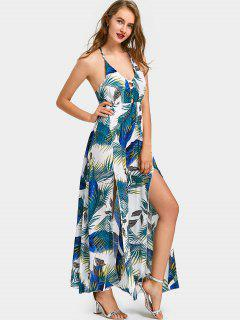 Criss Cross Tropical Slit Maxi Dress - Blue Xl
