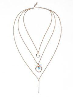 Bar Pendant Three Layered Necklace - Golden