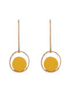Resin Circle Round Earrings - Golden