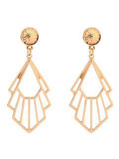 Alloy Geometric Engraved Flower Earrings - Golden