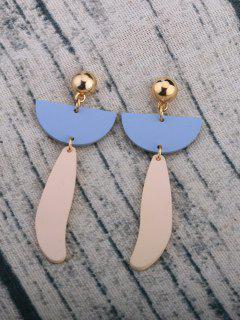 Resin Geometric Shape Alloy Stud Earrings - Golden