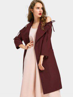 Double-breasted Belted Cold Shoulder Trench Coat - Wine Red L