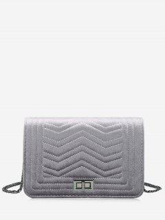 Stitching Quilted Zigzag Crossbody Bag - Gray