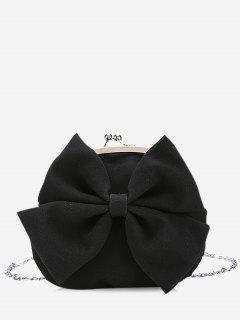 Chain Bowknot Crossbody Bag - Black