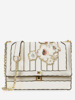 Floral Striped Rivet Crossbody Bag - White