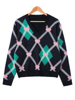Heart And Rhombus Pattern V Neck Sweater - Black M