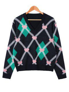 Heart And Rhombus Pattern V Neck Sweater - Black Xl