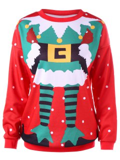 Polka Dot Christmas Printed Sweatshirt - Red M