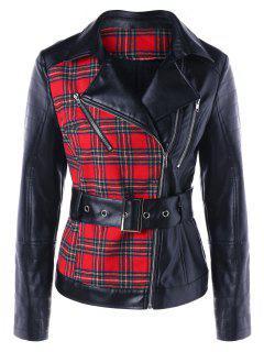 Plaid Biker Jacket With Belt - Red Xl