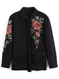 Embroidered Button Up Jean Jacket With Pockets - Black L