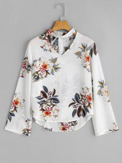 Long Sleeve Floral Choker Top - White M