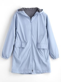 Hooded Elastic Cuffs Zip Up Coat - Light Blue M