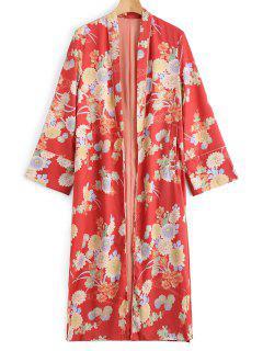 Manteau Kimono Long à Fleurs - Floral S
