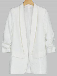 Faux Pocket Embellished Lapel Blazer - White L