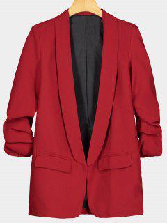 Faux Pocket Embellished Lapel Blazer - Red M
