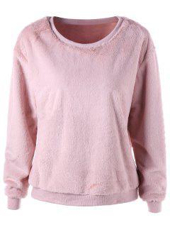 Banded Edge Fluffy Sweatshirt - Nude Pink Xl