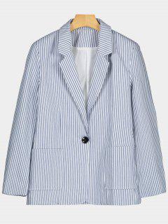 One Button Lapel Striped Blazer - Stripe S