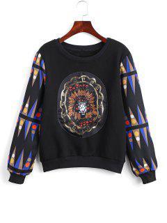 Polka Dot Printed Rhinestoned Sweatshirt - Black L
