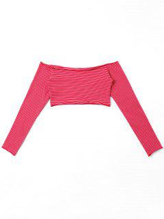 Striped Off The Shoulder Crop Top - Red L