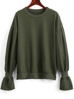 Oversized Elastic Cuffs Sweatshirt - Army Green M