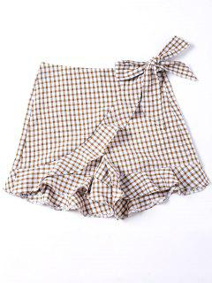 Self Tie Gingham Ruffle Shorts - M