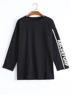 Camiseta De La Letra Del Alfabeto Del Palangre - Negro