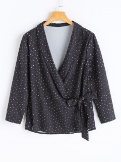 Polka Dot Wrap Top - Black S
