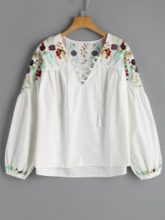 Flower Embroidered Lace-up Babydoll Top - White S