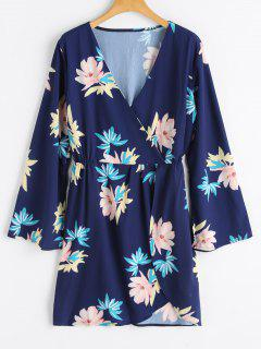 Bell Sleeve Floral Surplice Dress - Deep Blue S