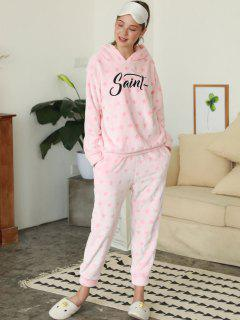 Embroidered Pentagram Flannel Pajamas - Pink M