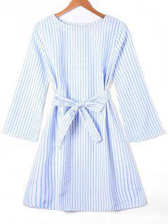 Long Sleeve Striped Dress With Tie Belt - Blue Stripe Xl