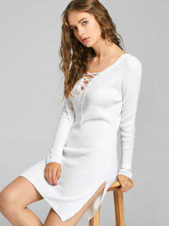Plunging Neck Lace Up Slit Knitted Dress - White L