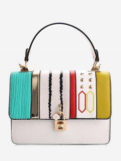 Color Block Rivets Geometric Detailed Handbag - White