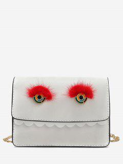 Scallop Teeth Eyes Crossbody Bag - White