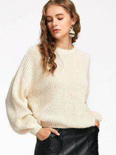 Oversized Lantern Sleeve Sweater - Off-white
