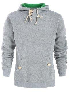 Drawstring Casual Half Button Hoodie - Light Gray L