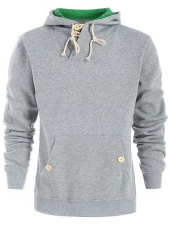 Drawstring Casual Half Button Hoodie - Light Gray M