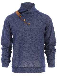 Button Accent High Collar Pullover Hoodie - Cadetblue L