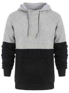 Drawstring Color Block Pullover Hoodie - Black And Grey 2xl