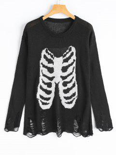 Distressed Skeleton Graphic Tunic Sweater - Black S