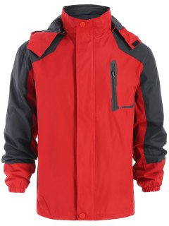 Color Block Windbreaker Jacket - Red M