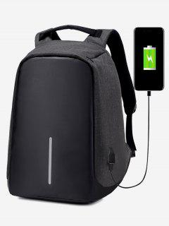Straight Line USB Charging Port Backpack - Black