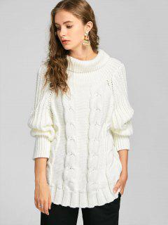 Weiter Pullover Mit Kabel Strick Und Rollkragen - Weiß